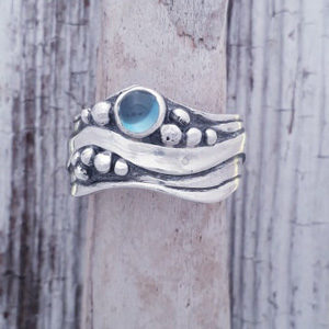 Broad Wave Ring with Blue Topaz