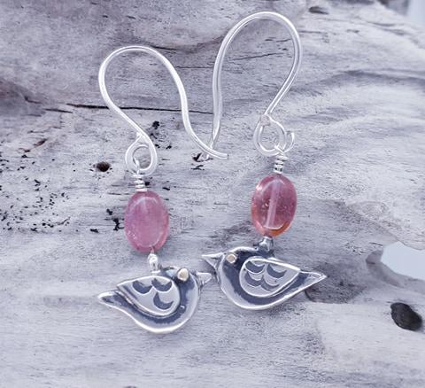 Birdie Drop Earrings with Pink Tourmaline Pebble Beads