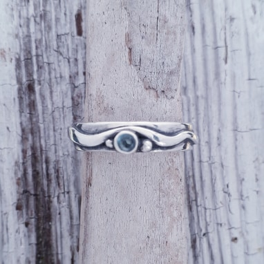 Delicate Wave Ring with Topaz