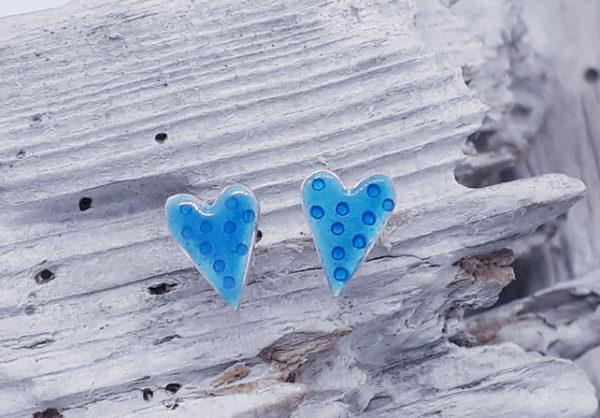 Enamelled Dotty Heart Studs in Aqua Blue
