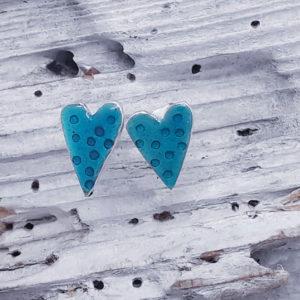 Enamelled Dotty Heart Studs in Sea Green