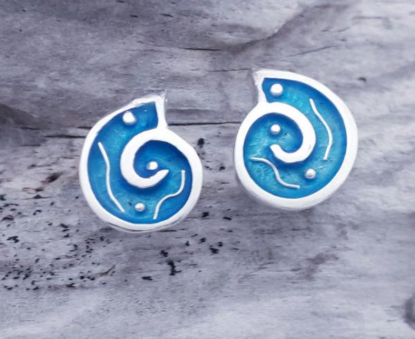 Enamelled Abstract Ammonite Earstuds
