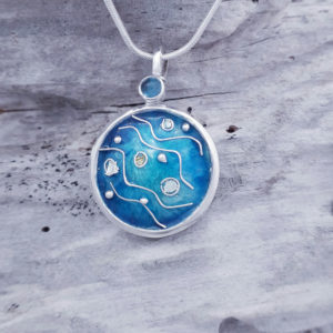 Enamelled Abstract Seascape Pendant with Topaz