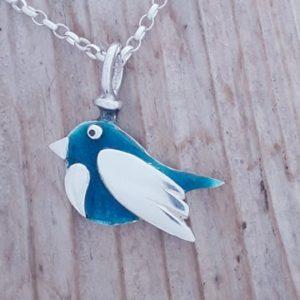 Enamelled Bird Pendant