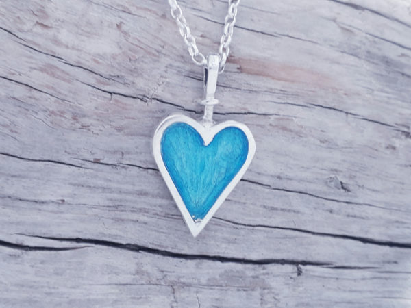 Enamelled Blue Heart Pendant