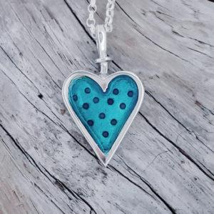 Enamelled Dotty Heart Pendant