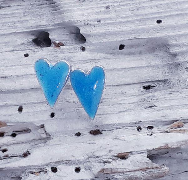 Enamelled Heart Earstuds in Aqua Blue
