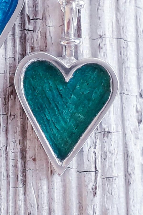 Enamelled Heart Pendant in Green