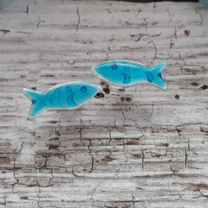 Enamelled Little Fishie Earstuds in Aqua Blue