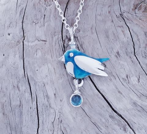 Enamelled Spring Bird Pendant