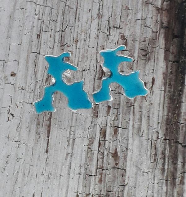 Enamelled Stronsay Map Earstuds in Aqua Blue