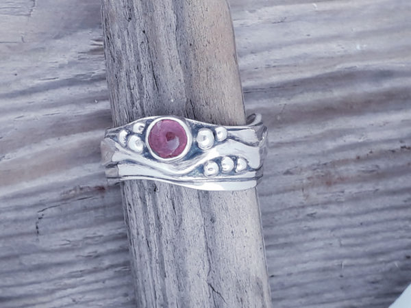 Medium Wave Ring with Pink Tourmaline