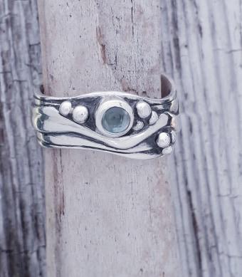 Medium Wave Ring with Topaz