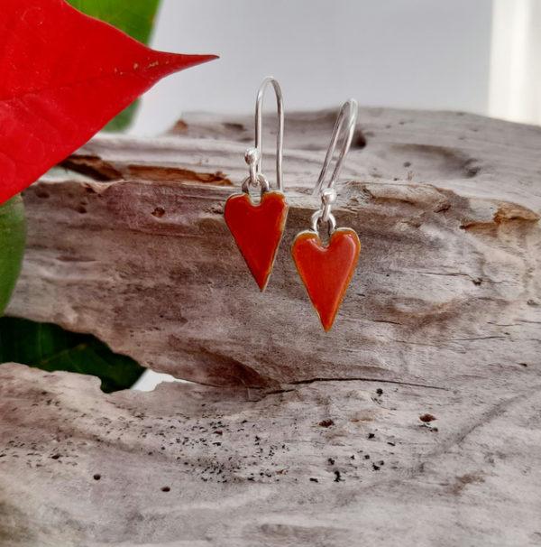 Mini Enamelled Heart Earrings