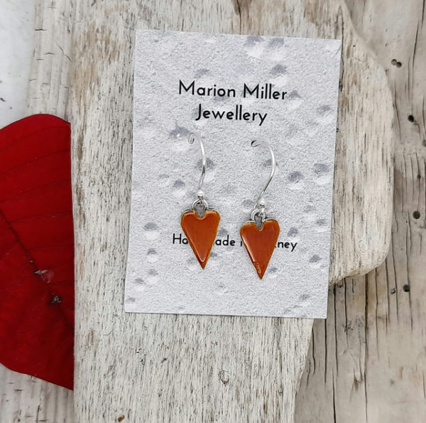 Mini Enamelled Heart Drop Earrings on Display Card