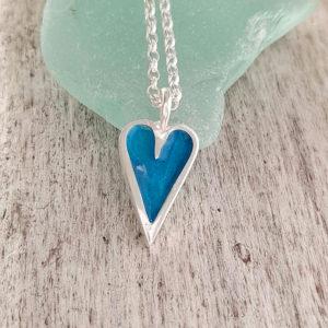 Mini Enamelled Heart in Sterling Silver - Aqua Blue