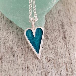 Mini Enamelled Heart in Sterling Silver - Green
