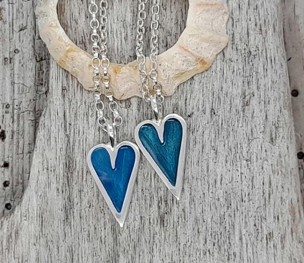 Mini Enamelled Heart in Sterling Silver - Green (two shown side by side)