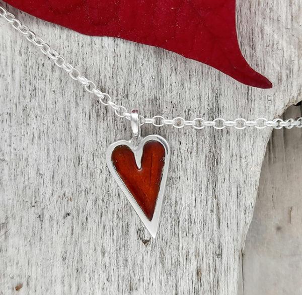 Mini Enamelled Heart in Sterling Silver - Red