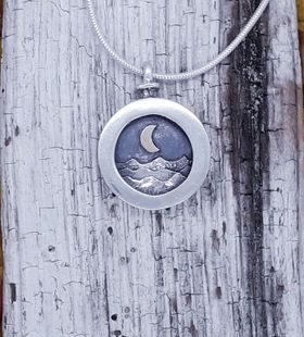 Moonlit Seas Pendant with 9 Carat Moon
