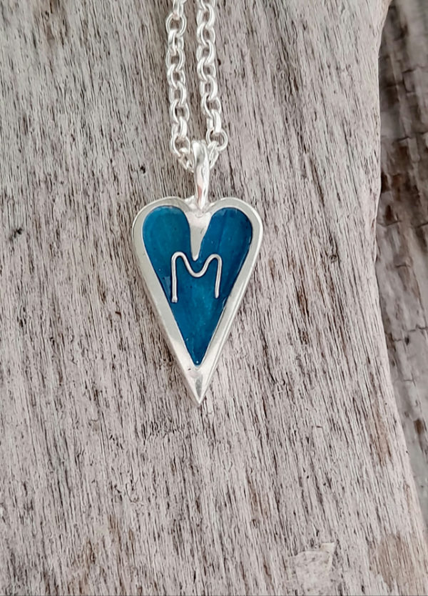 Personalised Mini Enamelled Heart in Sterling Silver (Example 2)