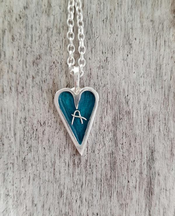 Personalised Mini Enamelled Heart in Sterling Silver