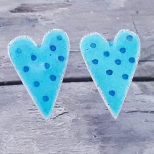 Sea Blue Dotty Enamelled Heart Studs