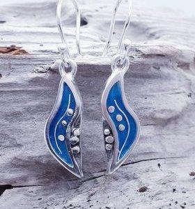 Seapod Enamelled Drop Earrings