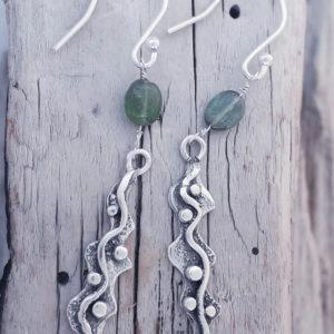 Seaweed Drop Earrings with Tourmaline Pebble Bead