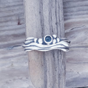 Tiny Wave Ring with Blue Topaz