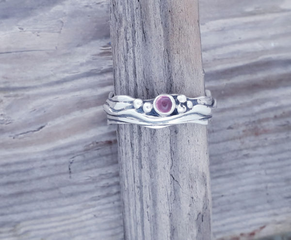 Tiny Wave Ring with Pink Tourmaline