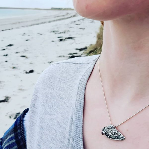 Banded Wedge Silver Shell Necklace with Pink Tourmaline (shown on model)