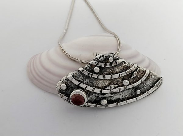 Banded Wedge Silver Shell Necklace with Pink Tourmaline
