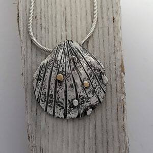 Cockle Shell Pendant with Gold Detail - One of a Kind
