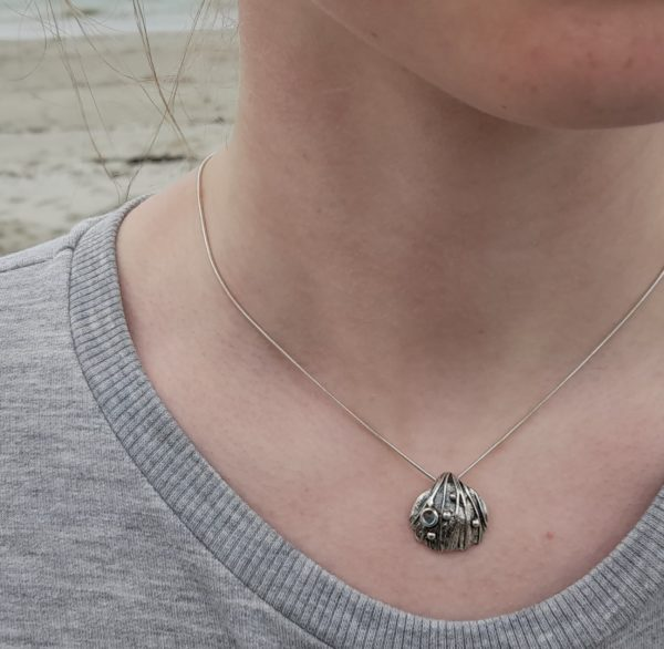 Silver Cockle Shell Pendant (shown on model)
