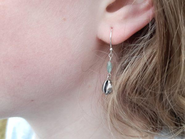 Cowrie Shell Drop Earrings (shown on model)
