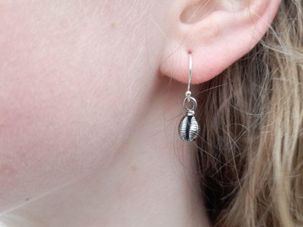 Cowrie Shell (Grotie Buckie) Drop Earrings (shown on model)