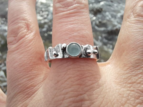 Limpet Ring Aquamarine Shell
