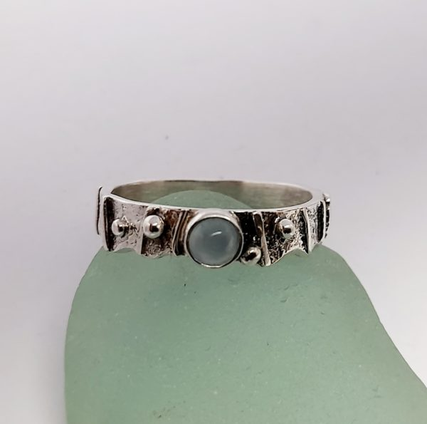 Limpet Shell Ring with Aquamarine