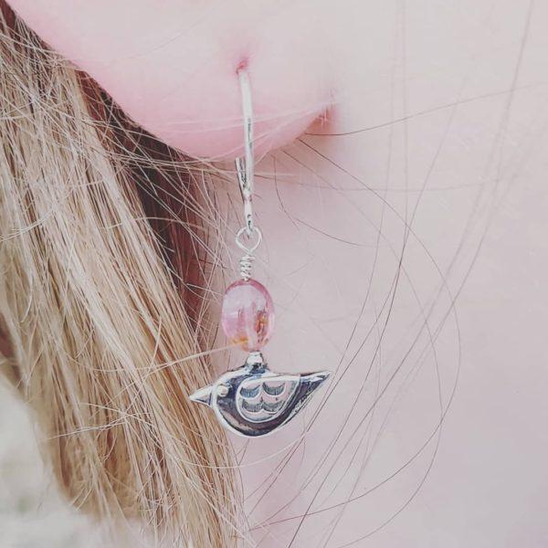 Little Birdie Drop Earrings with Pink Tourmaline (shown on model)