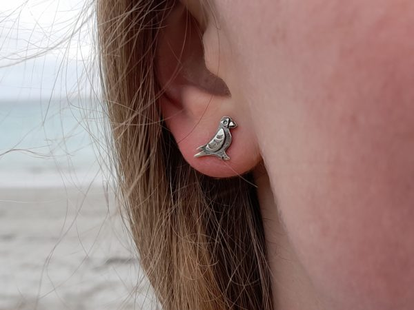 Tiny Puffin Earstuds (shown on model)