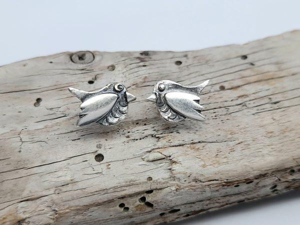 Silver Robin Earstuds
