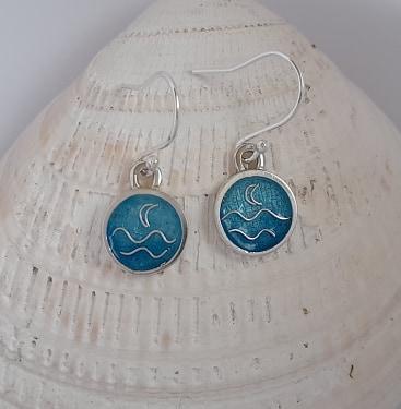 Enamelled Seascape Disc Earrings