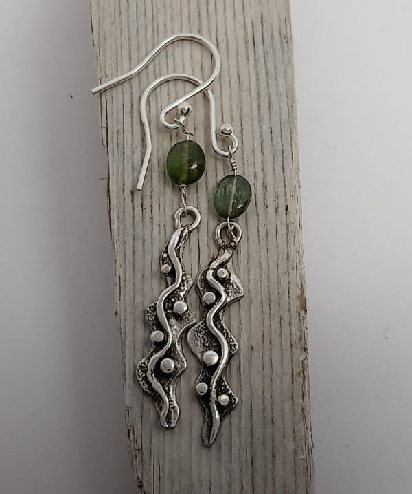 Seaweed Drop Earrings with Tourmaline
