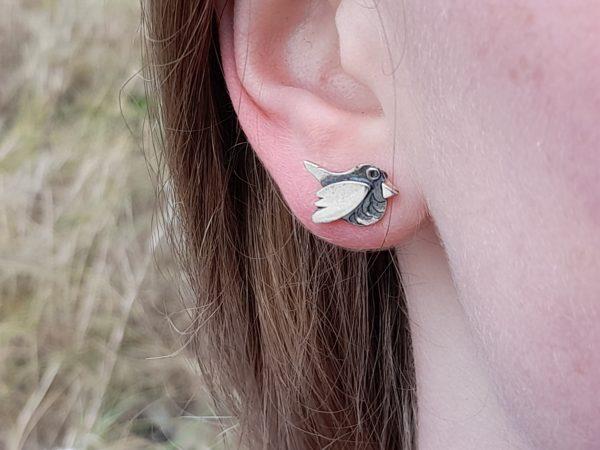 Silver Robin Earstuds (shown on model)