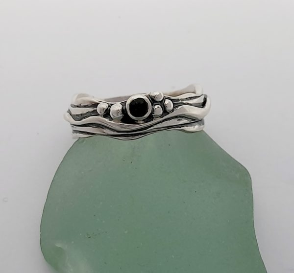 Tiny Wave Ring with Tourmaline